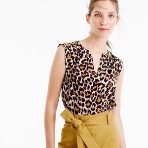 J Crew Silk cuffed sleeve leopard top | Size 4